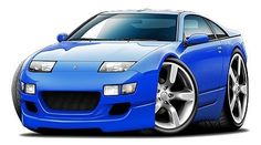 Nissan 300ZX Exotic Car-toon No Parking Sign