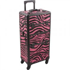 Hiker Rolling Makeup Case with Easy-Slide and Extendable Trays, Includes Removable Tray and Extra Lid, Zebra Texture, Pink Rolling Makeup Case, Makeup Train Case, Makeup Box, Love Coupons, Pink Zebra, Cosmetic Case, Toiletry Bag, Pink Color, Cool Things To Buy