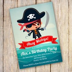 Pirate Party Invitation - Instantly Downloadable and Editable File - Personalize…