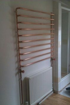 Homemade heated towel rail from reclaimed pipes! and Homemade heated towel rail from reclaimed pipes! Heating And Plumbing, Heated Towel Rail, Upstairs Bathrooms, Wet Rooms, Pipe Furniture, Bathroom Shelves, Diy Home Decor, Design Case, Copper Pipe Shelves