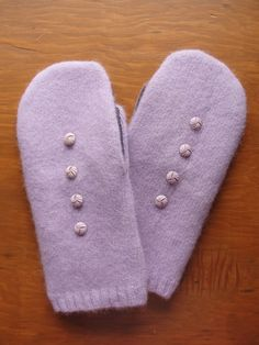 Recycled Lavender and Purple Wool Sweater Mittens with Vintage Buttons by AuntJsKnitKnacks on Etsy https://www.etsy.com/listing/196632447/recycled-lavender-and-purple-wool