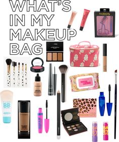 """""""What's in my makeup bag!"""" by sarah-marcelin ❤ liked on Polyvore"""