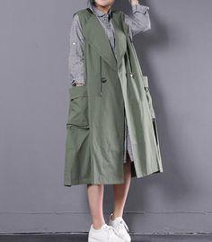 Women's Vest Big Size Large Pocket Loose Long Outwear for Spring Summer Plus Size Maxi Dresses, Plus Size Outfits, Big Size Fashion, Plus Size Fall, Iranian Women Fashion, Cotton Vest, Long Vests, Vest Outfits, Fashion Outfits