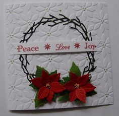Couture Creations Poinsettia embossing folder, Memory Box wreath die