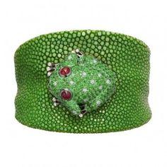 Green galuchat bracelet by de Grisogono