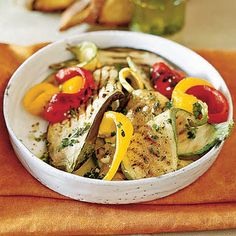 Grilled Vegetables with Lemon and Herbs     Eggplant, zucchini, and peppers are just the ticket for a summertime meal. After just five minutes on the grill, top the warm veggies with a lemon-garlic dressing and chopped fresh herbs for an easy side dish.