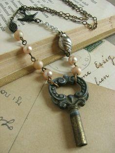 Vintage Jewelry Pastel Vintage Key Necklace whimsical assemblage by whybecause - Vintage Keys, Look Vintage, Vintage Jewelry, Vintage Pink, Vintage Pearls, Jewelry Crafts, Jewelry Art, Beaded Jewelry, Jewelry Design