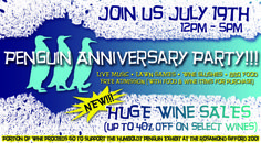 Join Penguin Bay Winery on July 19th for their annual Penguin Party featuring LIVE Music, lawn games, wine slushies, BBQ food  more! (Portion of wine proceeds donated to the Rosamond Gifford Zoo Penguin Exhibit)