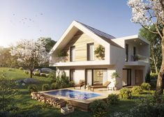 Style At Home, Mansions, House Styles, Highlights, Home Decor, Mansard Roof, Sustainable Building Materials, Photovoltaic Systems, Open Living Area