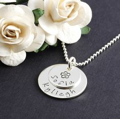 Hand Stamped Necklace - Small Double Stacked - Personalized Necklace - Sterling Silver. $32.00, via Etsy.