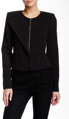 BCBGMAXAZRIA Asymmetrical Faux Lapel Jacket