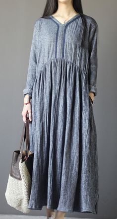 9c5d926c61 Top quality gray long sleeve linen dresses plus size fall maternity dresses.  Omychic Linen Dress