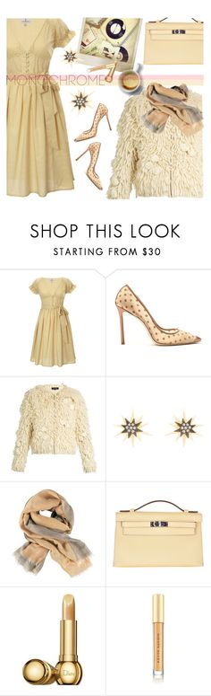"""Pale Yellow Monochrome"" by paperdollsq ❤ liked on Polyvore featuring Looking Glass, Polaroid, Jimmy Choo, Tabula Rasa, Elizabeth Cole, Etro, Hermès, Christian Dior, Kevyn Aucoin and monochrome"