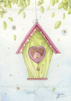 Love Bird ACEO Card Original OOAK by thecurioustreehouse on Etsy, £6.00