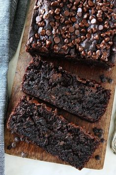 Gluten-Free Vegan Chocolate Banana Bread Recipe on twopeasandtheirpod.com You will never know this chocolate banana bread is gluten-free and vegan. It is SO rich, moist, and delicious! It is bread but tastes more like cake! WIN!