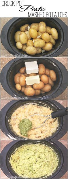 Perfect for Thanksgiving!  Only 6 ingredients and 4 steps to amazingly delicious Pesto Mashed Potatoes made in your crock pot!