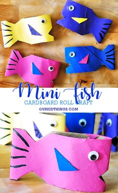 Colorful 3D Cardboard Roll Mini Fish #ocean #fish #kidcrafts #underthesea #cardboardrollcraft