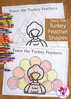 FREE Trace the Turkey Feather Shapes Printable