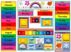 Help children to learn about dates and numbers, days of the week, months of the year, weather and seasons and brighten up your setting with this colourful chart. Great for encouraging word and number recognition!