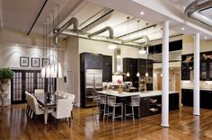 industrial-style-kitchen-lighting-using-ceiling-light-fixture-parts-from-air-conditioning-ducting-pipe-above-stainless-steel-stool-with-back-600x399.jpg (600×399)
