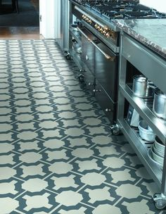 Super stylish kitchen flooring - parquet design by Neisha Crosland. Durable and easy to clean, its ideal for one of the most demanding rooms in the home. Vinyl Flooring Kitchen, Basement Flooring, Bathroom Flooring, Flooring Ideas, Farmhouse Flooring, Linoleum Flooring, Timber Flooring, Parquet Flooring, Stone Flooring