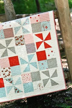 A Walk In The Woods Pinwheel Baby Quilt by PaperBoxQuiltCo on Etsy, $140.00