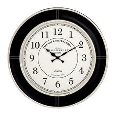 Giving any décor a regal touch, the Churchill Wall Clock, features a genuine leather finish, exuding class and practicality into your room. The steel frame ensures long lasting use, while the nickel finish rims complement the leather, accentuating a rich look. The face features black numbers and hands ensuring easy reading, even at a glance. Black text on the face provides the clock with a worldly look, which will complement most decors. 1 AA battery is all that is required to keep time…