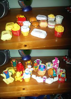 McDonalds dinosaur transformer toys from back in the day. I only ever had a couple of these, but I remember loving them. My absolute favorite was the Hot Cakes Pteradactyl.