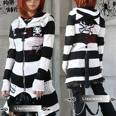 Goth Punk Emo Clothes Catwoman Hoodie Skull Long Sweater Coat SKU-11411018