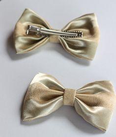 metallic gold fabric hair bow