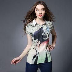 Women Plus Size Shirt Short Sleeve Printed Woven Top Blouses Summer 2017 l xl 2xl 3xl 4xl 5xl