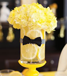 Lemons and Bow Ties Party Decor ! Perfect for a lemon party or a yellow theme party! White Tuxedo Wedding, Yellow Wedding, Dream Wedding, Bow Tie Party, Black Party, Deco Table, Mellow Yellow, Free Food, Tablescapes