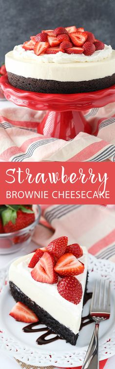 Strawberry Brownie Cheesecake A moist and chewy brownie topped with no bake vanilla cheesecake whipped cream and fresh strawberries! The post Strawberry Brownie Cheesecake appeared first on Daisy Dessert. No Bake Vanilla Cheesecake, Brownie Cheesecake, Cheesecake Recipes, Brownie Cake, Chocolate Cheesecake, Pumpkin Cheesecake, 13 Desserts, Delicious Desserts, Dessert Recipes