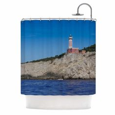 East Urban Home Happy Lighthouse by Violet Hudson Coastal Shower Curtain