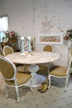 Painted Cottage Chic Shabby French Linen Round by paintedcottages, $995.00. Love the applique around the base.