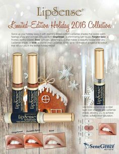 Limited Edition Holiday colors just launched today! Give me all the Pumpkin Spice, Gingerbread, Snow, and Icicle LipSense. 😍 DM what you want to order! Lip Sense, Spice Things Up, Things To Sell, Senegence Makeup, Shimmer Lights, Kissable Lips, Lip Colour, Lip Art, Younique