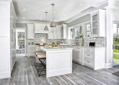 44 + Stylish White Kitchen Cabinets Decor - Home By X Grey Kitchen Floor, Gray And White Kitchen, Kitchen Flooring, Gray Floor, Farmhouse Flooring, Garage Flooring, Bedroom Flooring, Luxury Kitchen Design, Best Kitchen Designs