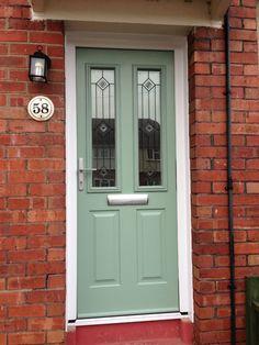 Chartwell Green Green Front Doors, Front Doors With Windows, Painted Front Doors, Front Door Colors, House Front Door, Up House, Oval Room Blue, Composite Front Door, Front Door Design