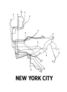 nyc subway map without any words or colors!