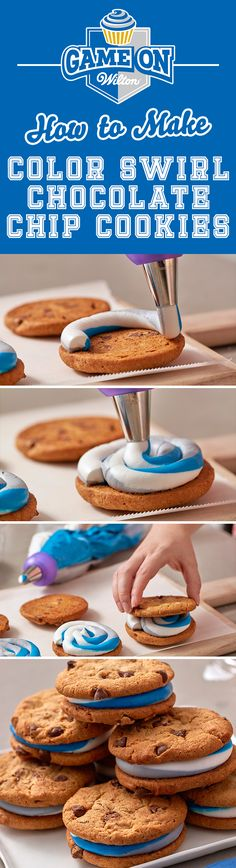 How to Make Color Swirl Chocolate Chip Cookies - These cookie sandwiches are the easiest way to get that chocolate chip and sweet icing fix! These delicious cookie sandwiches are easy to make with the Wilton Color Swirl 3-Color Coupler and your favorite team color frosting combination. Whip some up for your youth football team, the big game day or any time you want a sweet treat!