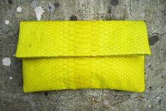 NEON - Yellow Fold Over Clutch.
