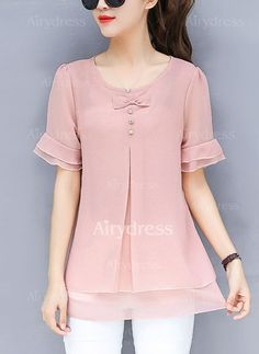 Buy Blouses & Shirts For Women at PopJulia. Online Shopping Solid Bow Casual Plus Size Frill Sleeve Chiffon Blouse, The Best Blouses & Shirts For Women. Blouse Styles, Blouse Designs, Casual Dresses, Fashion Dresses, Fashion Blouses, Maxi Dresses, Top Mode, Mode Hijab, Chiffon Shirt