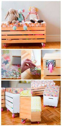 DIY toy boxes with casters and cushioned seat. under the bed storage DIY toy boxes with casters and cushioned Diy Toy Box, Toy Boxes, Craft Box, Diy Projects To Try, Craft Projects, Deco Kids, Kid Spaces, Small Spaces, Girl Room
