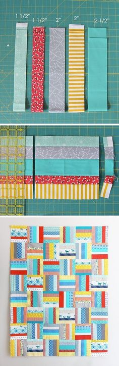 Scrappy Strips Free Tutorial in 6 sizes I love figuring out and making tricky quilts but sometimes I just want to not use my brain and sew! This is a super quick and easy quilt, a great scrap buster…and you can make it with … Jelly Roll Quilt Patterns, Patchwork Quilt Patterns, Patchwork Blanket, Quilt Block Patterns, Quilt Blocks, Hexagon Quilt, Blanket Crochet, Quilt Kits, Crochet Stitches