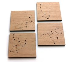 Wooden coaster star constellations  By pepper sprouts on etzy