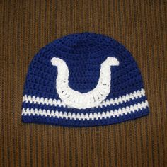 Indianapolis Colts beanie, Newborn to Adult sizing - $20 plus shipping  http://facebook.com/crosswesterncrochet