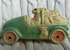 Antique Viscoloid Celluloid Rattle Toy Easter Rabbit in car hauling bunnies