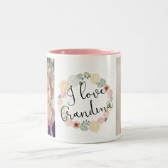 I Love Grandma Custom Photo Mug Christmas Mugs, Christmas Card Holders, Christmas Kitchen, Christmas Sale, Christmas Decor, Christmas Ideas, Personalized Coffee Mugs, Personalized Gifts, Custom Gifts