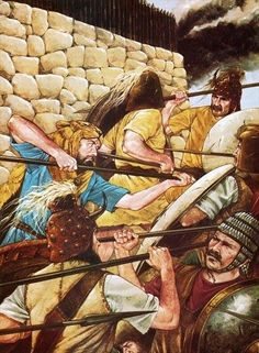 """Mycenaean warriors defending the city, its massive Cyclopean walls clear to see,"" by Richard Hook"