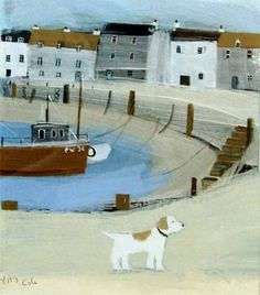 hannah cole: on the harbour walls (acrylic on canvas) Seaside Pictures, Beach Illustration, House Drawing, Dog Paintings, Naive Art, Simple Art, Beach Art, Beautiful Paintings, Dog Art